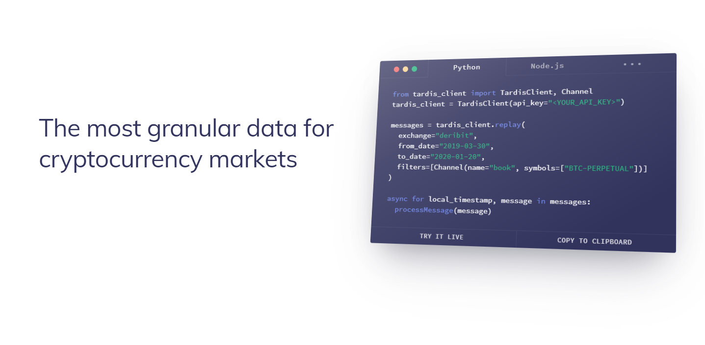 Historical tick-level cryptocurrency market data replay API